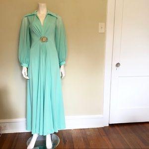 Vintage 1970s pastel teal maxi dress sheer sleeves